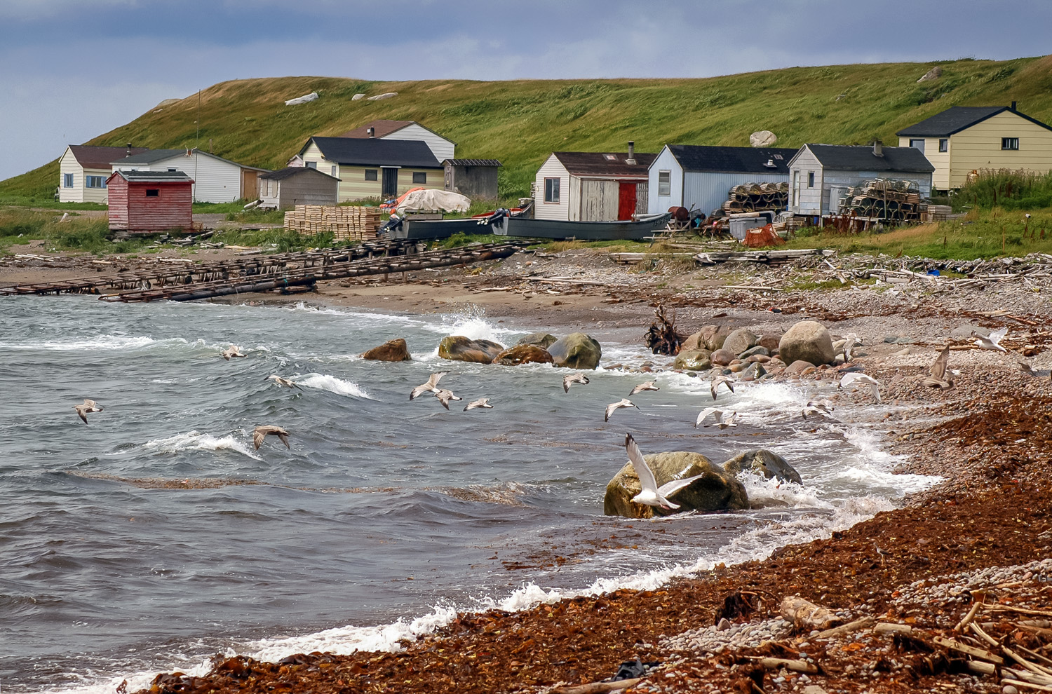 Fishing cabins, near Green Point, Gros Morne National Park, Newf