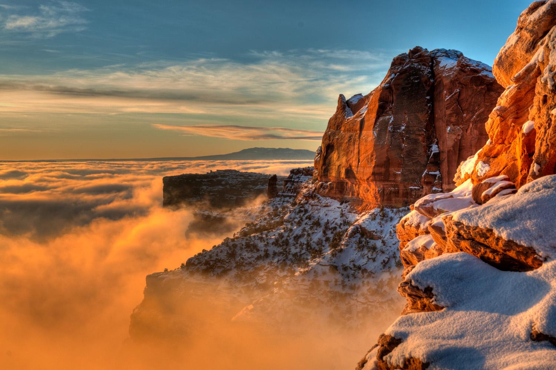 Sunrise over the fog, near Mesa Arch, Canyonlands National Park,
