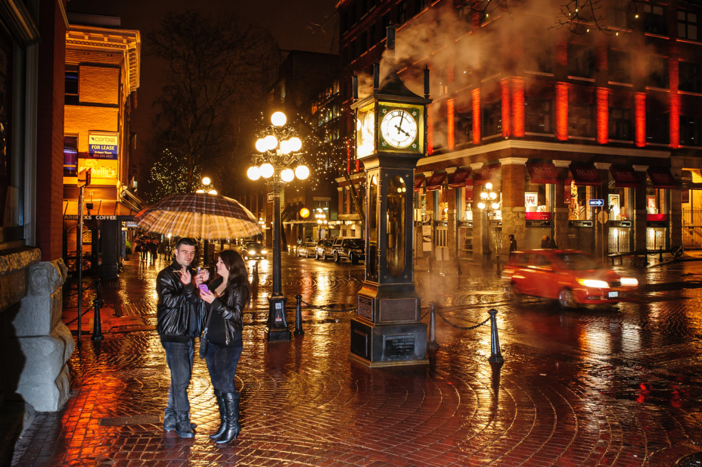 Gastown at night in the rain