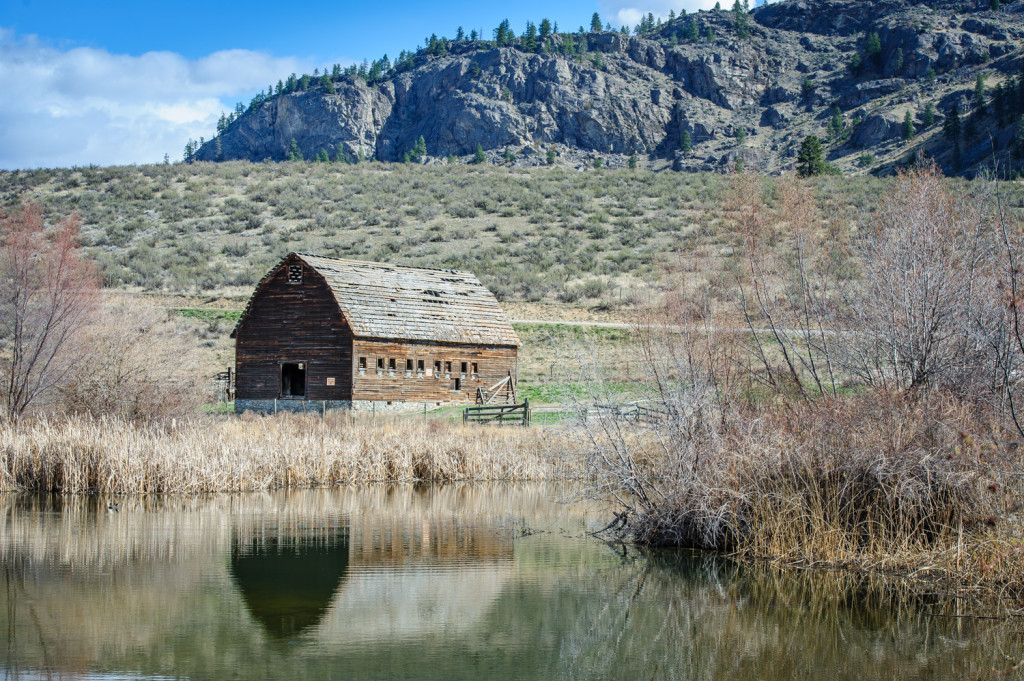 An old barn is reflected in one of the oxbows at the historic Haynes Ranch just north of Osoyoos, B.C. (Richard McGuire Photo)