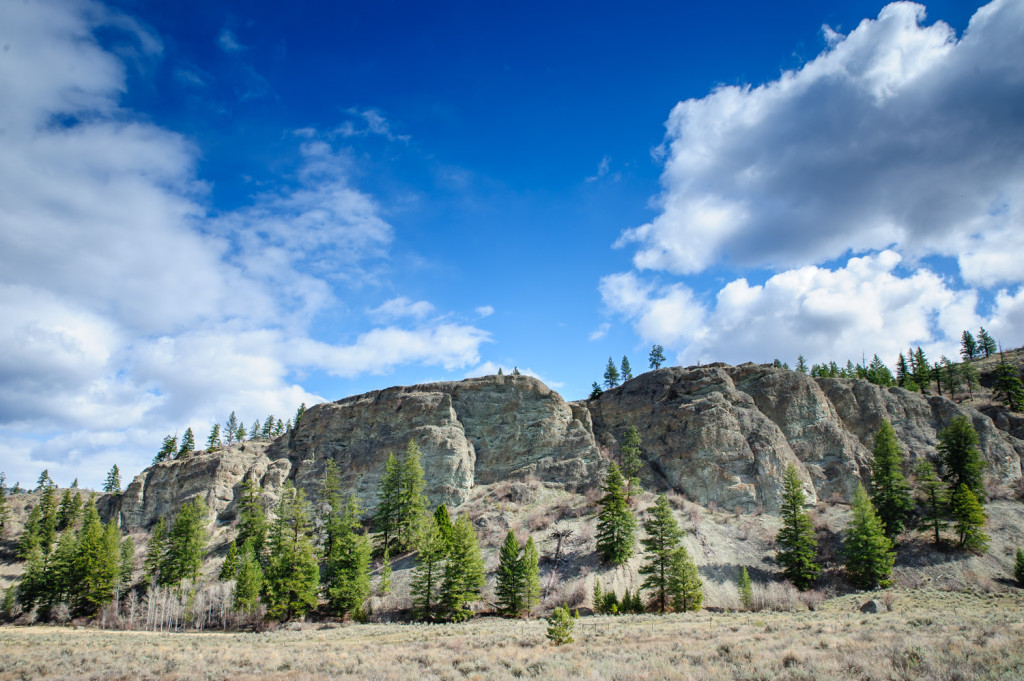 Steep rock formations rise from the sagebrush grasslands near White Lake, north of Oliver, B.C. (Richard McGuire Photo)